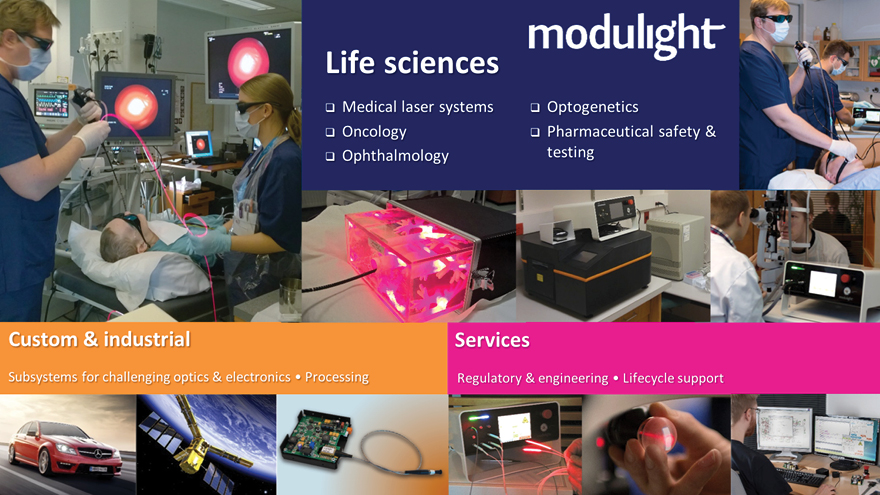 Modulight makes lasers for Life Sciences & custom and industrial applications